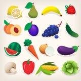 Uppsättning av färgrik ny frukt och grönsaker Arkivfoto