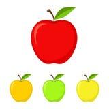Uppsättning av färgrika äpplen i plan stil också vektor för coreldrawillustration Arkivbild