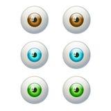 Uppsättning av färgrika ögon Brunt blått, grönt öga Arkivbilder
