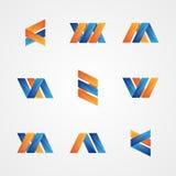 Uppsättning av färgrika abstrakta idérika logoer Arkivfoton