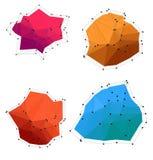 Uppsättning av färgrika abstrakta låga poly former royaltyfri illustrationer