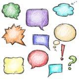 Uppsättning av färgrika anförandebubblor som hand-dras Arkivfoton