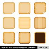 Uppsättning av färgrika App-symbolsramar, mallar, bakgrunder. Uppsättning 17 Arkivbilder