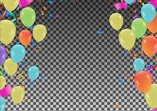 Uppsättning av färgrika ballonger, mångfärgade standerter och konfettier på royaltyfri illustrationer