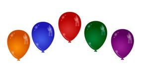 Uppsättning av färgrika ballonger på vit bakgrund Fotografering för Bildbyråer