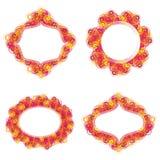 Uppsättning av 4 färgrika borstespiralramar med textutrymme Arkivbild