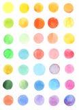 Uppsättning av färgrika cirklar för vattenfärg Arkivfoto