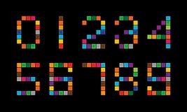 Uppsättning av färgrika digitala nummer Arkivfoto
