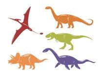 Uppsättning av färgrika dinosaurier på vit bakgrund Arkivbilder