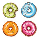 uppsättning av färgrika donuts Hand dragen markörillustration vektor illustrationer