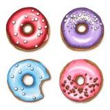 uppsättning av färgrika donuts Hand dragen markörillustration royaltyfri illustrationer