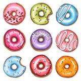 Uppsättning av färgrika donuts som isoleras på vit bakgrund royaltyfri illustrationer