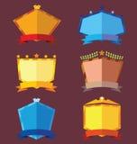 Uppsättning av färgrika emblem Arkivbilder