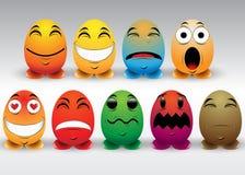 Uppsättning av färgrika Emoticons stock illustrationer