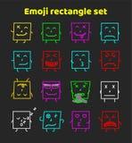 Uppsättning av färgrika emoticons, plan backgoundmodell för emoji Arkivfoton