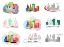 Uppsättning av färgrika fastighetemblem och logoer Arkivfoto