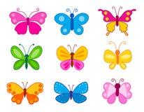 Uppsättning av färgrika fjärilar Royaltyfri Fotografi