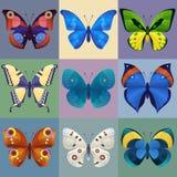 Uppsättning av färgrika fjärilar för design Arkivfoto