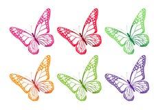 Uppsättning av färgrika fjärilar som isoleras för vår Arkivbild