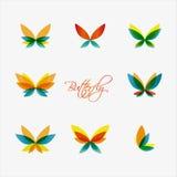 Uppsättning av färgrika fjärilslogoer vektor Arkivbild