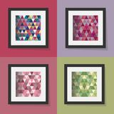 Uppsättning av färgrika geometriska triangelmodellramar Arkivbild