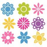 Uppsättning av färgrika isolerade blommasymboler vektor illustrationer