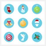 Uppsättning av färgrika julsymboler Royaltyfri Fotografi