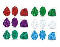 Uppsättning av färgrika juvlar Arkivfoto