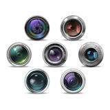 Uppsättning av färgrika kamerafotolinser också vektor för coreldrawillustration Royaltyfri Foto