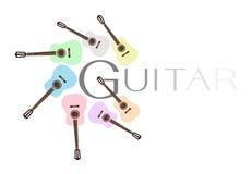 Uppsättning av färgrika klassiska gitarrer på vita Backgro Arkivfoton
