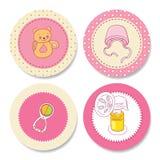 Uppsättning av färgrika klistermärkear för flickafödelsedag royaltyfria foton