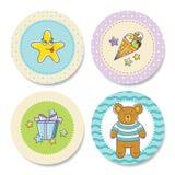 Uppsättning av färgrika klistermärkear för pojkefödelsedag Arkivbild