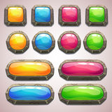 Uppsättning av färgrika knappar för tecknad film Arkivbilder