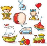 Uppsättning av färgrika leksaker stock illustrationer