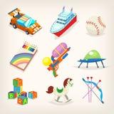 Uppsättning av färgrika leksaker för ungelekar Gåvor för barnferier Fotografering för Bildbyråer