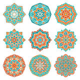 Uppsättning av färgrika mandalas Fotografering för Bildbyråer