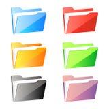 Uppsättning av färgrika mappmappar som isoleras på vit bakgrund Arkivbild