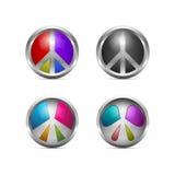 Uppsättning av färgrika metalliska fredsymboler Royaltyfri Foto