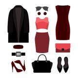 Uppsättning av färgrika moderiktiga kvinnors kläder och tillbehör Arkivbild