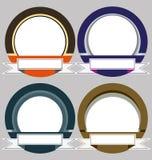 Uppsättning av färgrika moderna emblemramar Arkivfoton