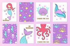 Uppsättning av färgrika nautiska kort mermaid Undersea värld vektor illustrationer