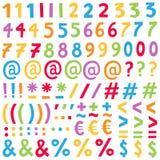Uppsättning av färgrika nummer och speciala tecken, alfabet, olika versioner och färger varje vektor illustrationer