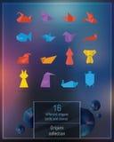 Uppsättning av färgrika origamidjur Arkivbild