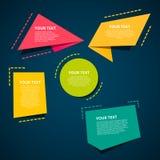 Uppsättning av färgrika origamietiketter för din text den lätta designen redigerar element till vektorn Arkivbild