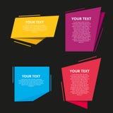Uppsättning av färgrika origamietiketter för din text den lätta designen redigerar element till vektorn Royaltyfri Foto