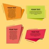 Uppsättning av färgrika origamietiketter för din text den lätta designen redigerar element till vektorn Arkivfoto
