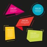 Uppsättning av färgrika origamietiketter för din text den lätta designen redigerar element till vektorn Royaltyfria Bilder