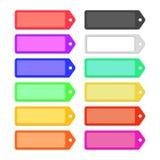 Uppsättning av färgrika plana bandetiketter för design royaltyfri illustrationer