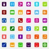 Uppsättning av färgrika plana massmediasymboler Arkivfoton