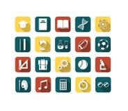 Uppsättning av färgrika plana utbildningssymboler Arkivbild